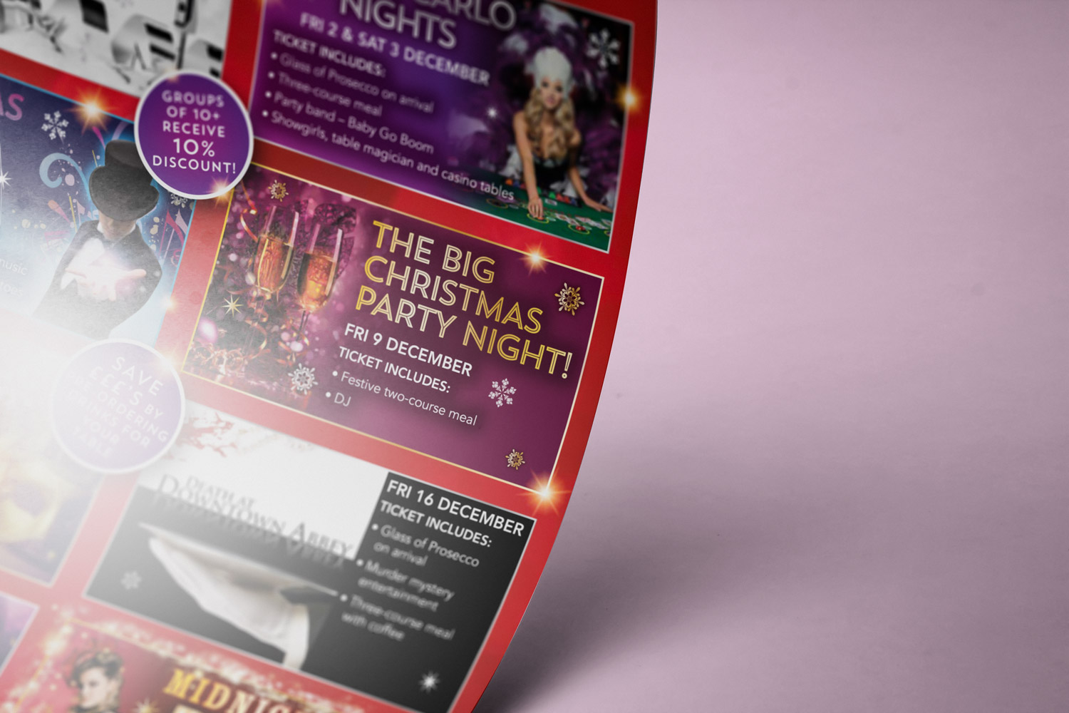 Printed poster containing Christmas events promotion