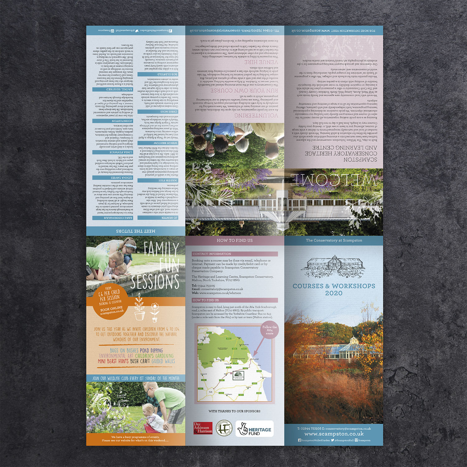 The Conservatory at Scampston - Courses & Workshops A4 Leaflet - outside