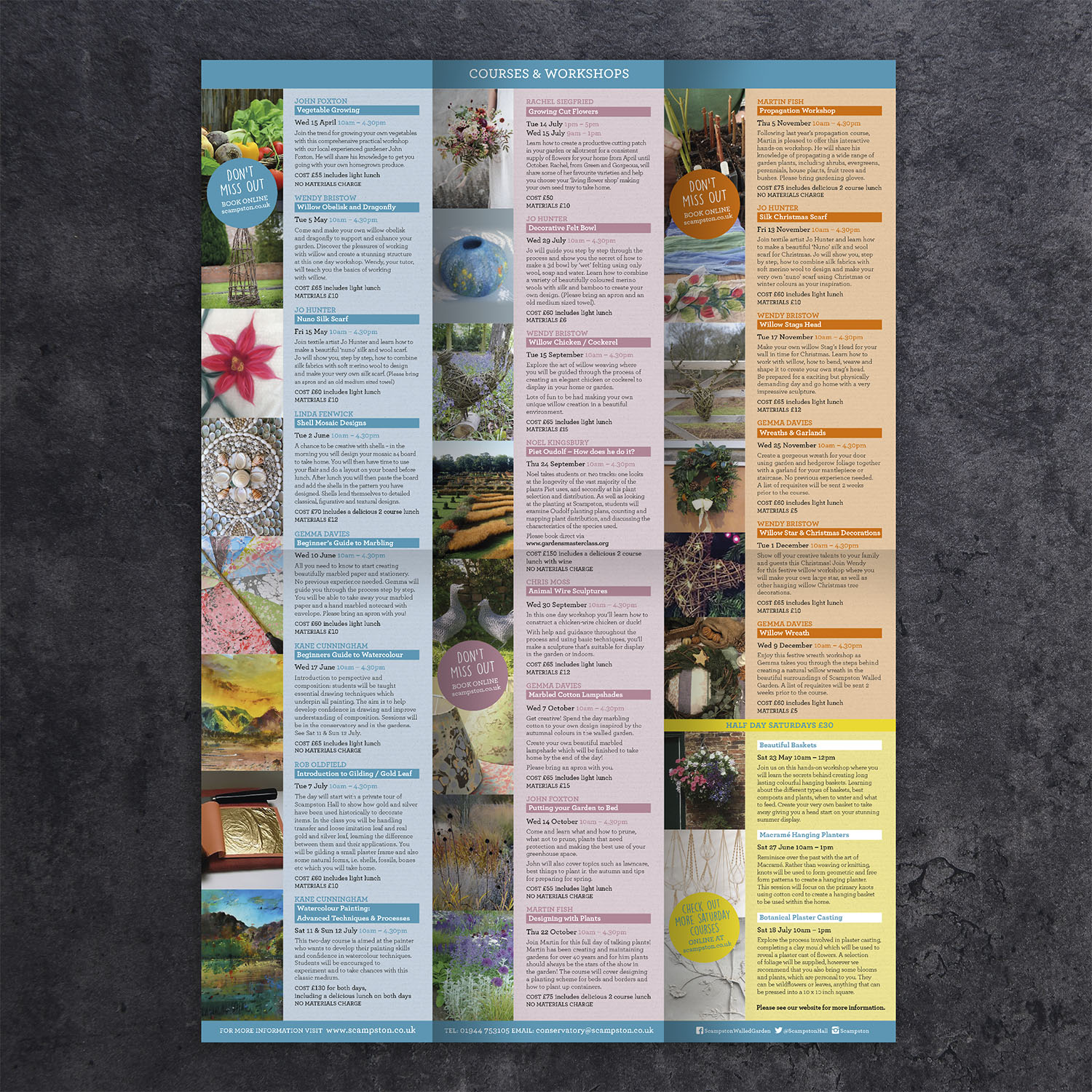 The Conservatory at Scampston - Courses & Workshops A4 Leaflet - inside
